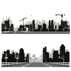 Vector illustration.City skyline,crane and city traffic