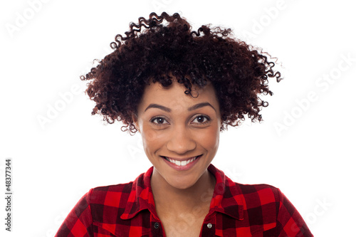 Face closeup of curly haired afro american model