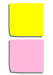Yellow and rosa reminder note, gelbes und rosa Notizblatt