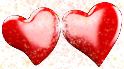 doppio cuore rosso 3d esplosione di stelle