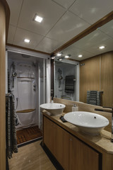 Italy, Naples, Abacus 70 luxury yacht, master bathroom
