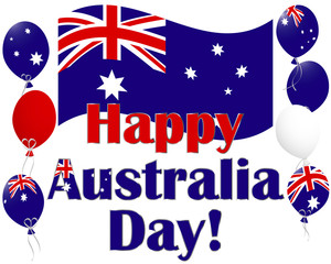 Australia Day background with Australia flag balloons.