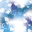 Abstract blue background with hearts of love