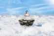 Above clouds yoga in white