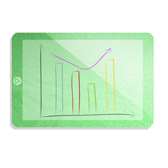 Green tablet with graph isolate made from tissue paper craft