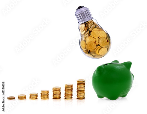 Traditional  lightbulb with  golden coins and green piggy bank