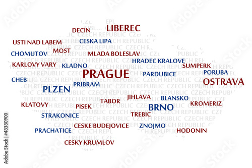 CZECH REPUBLIC map made from cities with the country name