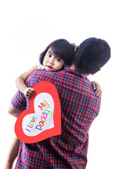 Girl hold love card hug by dad