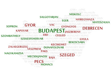 HUNGARY map made from cities with the country name