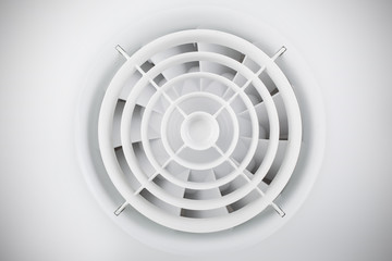 Round white plastic air fan