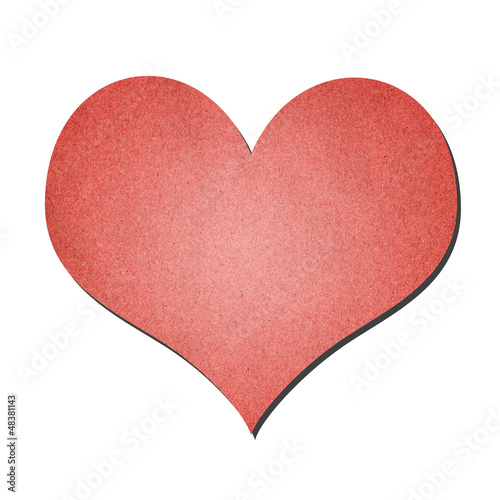 red heart paper art isolated on white
