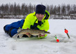 Happy angler with winter pike trophy fish