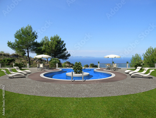 swimming pool mit aussicht - rendering
