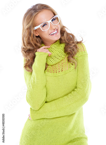Vivacious woman in modern glasses