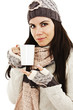Winter woman drinking tea on white background