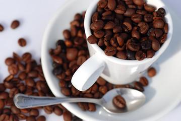 UNA TAZA DE CAFÉ VACÍA, AISLADA