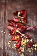 Dried  chili pepper on wooden background