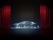 Neuwagen Präsentation auf Show Bühne unter Silber Stoff
