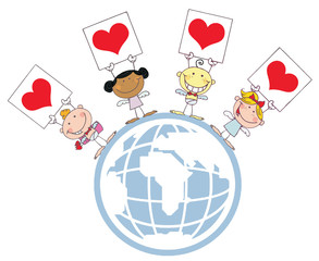 Stick Cupids Holding Heart Signs On A Globe