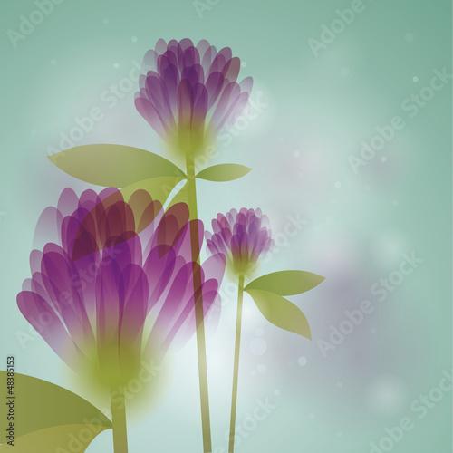 Violet clovers / Floral square card