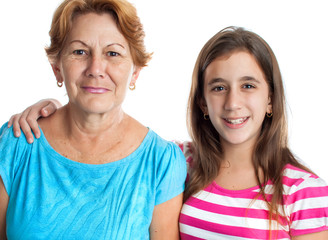 Portrait of an hispanic grandmother and granddaughter