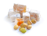 Turkish delight (lokum) with pistachios on a white background poster