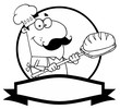 Outlined Cartoon Logo Mascot-Bread Baker Man