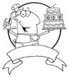 Outlined Cartoon Logo Mascot-Cake Baker Woman