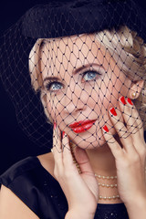 Retro woman portrait. Jewelry and Beauty. Fashion photo