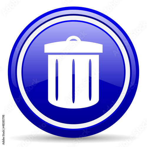 recycle blue glossy icon on white background