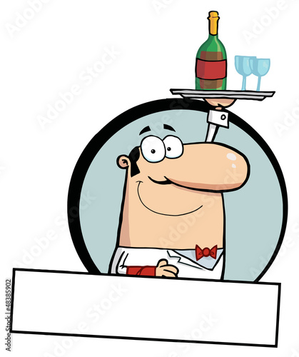Cartoon Logo Mascot-Friendly Male Butler Serving Wine