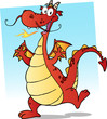 Happy Smiling Red Dragon Cartoon Character
