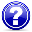 question mark blue glossy icon on white background