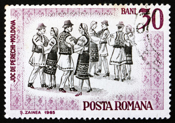 Postage stamp Romania 1966 Folk Dancers of Moldavia