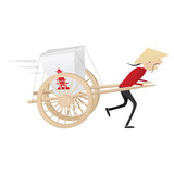 Funny chinese food delivery boy with wooden wagon