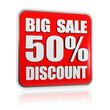 big sale 50 percentages discount red banner