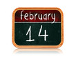February 14 on blackboard banner