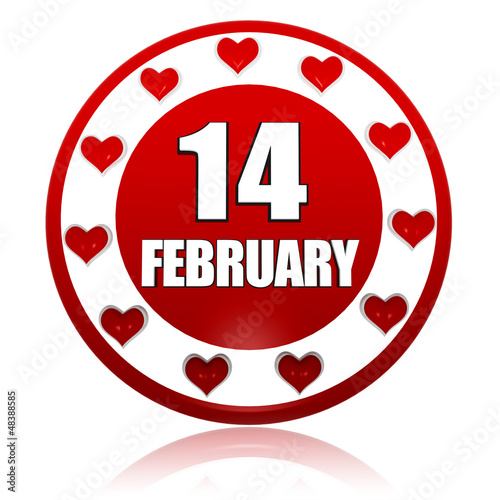 February 14 red circle banner with hearts symbols