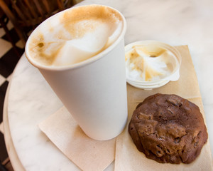Coffee house cappuccino and chocolate cookie