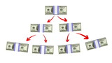 money pyramid (dollars version), 3d animation. alpha matte