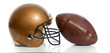 A retro gold football helmet and football on a white background