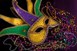 A Mardi gras jester's mask with beads on a black background