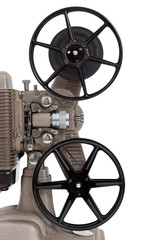 A vintage movie projector on a white background