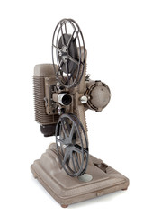 Vintage movie projector on a white background