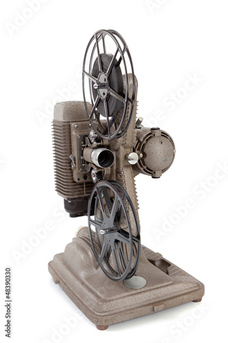 Deurstickers Retro Vintage movie projector on a white background