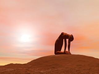 Camel pose, ustrasana - 3D render