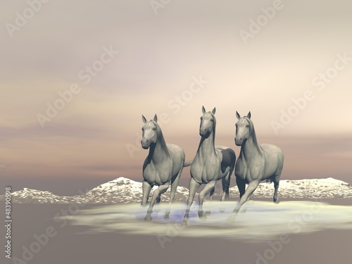 Horses gallopping - 3D render