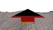 German flag arrow in abstract ocean of Euros animation
