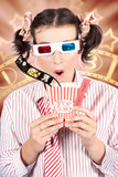 Funny Girl Watching 3D Movie At Cinema