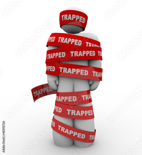 Trapped Person Tangled in Red Tape No Freedom